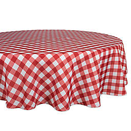 Design Imports Checkers 70-Inch Round Tablecloth in Red/White