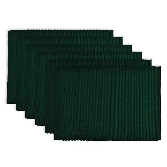 Alternate image 1 for Design Imports Ribbed Cotton Placemats in Dark Green (Set of 6)