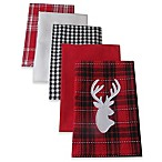 Design Imports  Buffalo Check Reindeer Kitchen Towels in Red/Black (Set of 5)