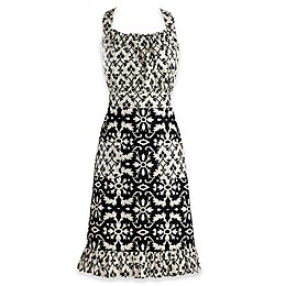 Design Imports Mixed Print Vintage Apron in Black/White