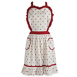 Design Imports Heart Bodice Vintage Apron in Red
