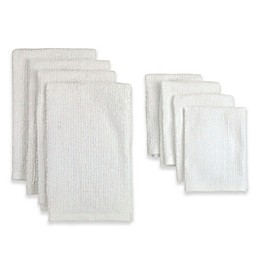 Design Imports 8-Piece Terry Kitchen Towel and Bar Mop Dish Cloth Set in White
