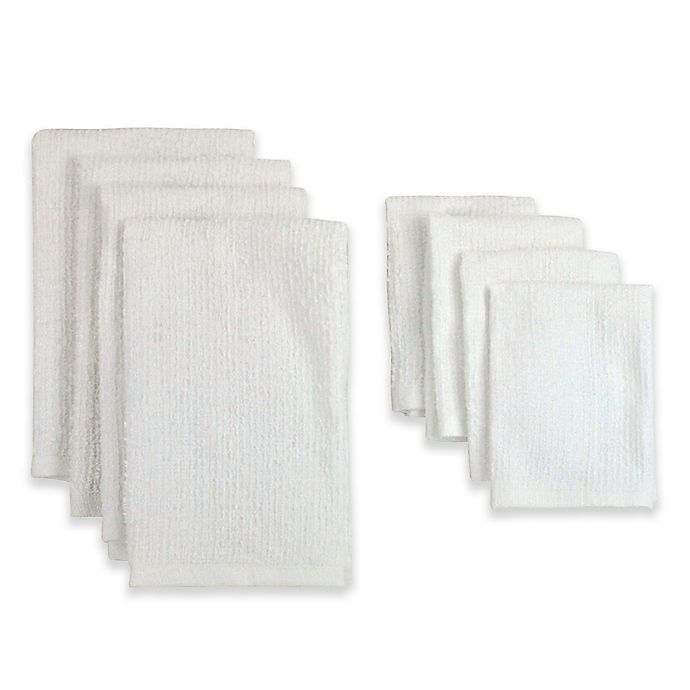 Alternate image 1 for Design Imports 8-Piece Terry Kitchen Towel and Bar Mop Dish Cloth Set in White