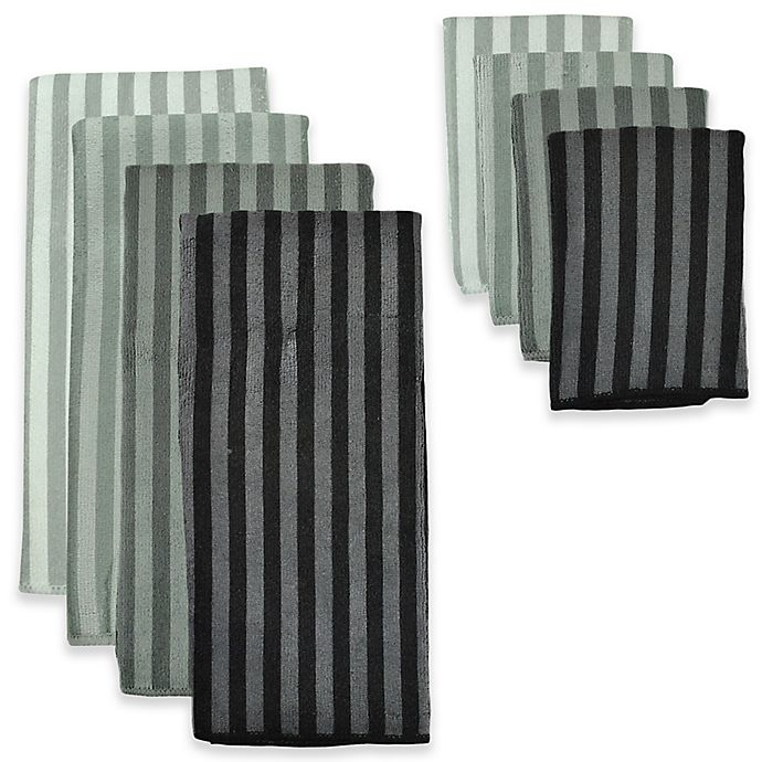 Microfiber Towels Bed Bath And Beyond: Design Imports 8-Piece Microfiber Stripe Kitchen Towel And