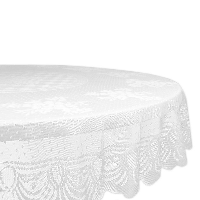 Alternate image 1 for Design Imports Lace Floral 63-Inch Round Tablecloth in White