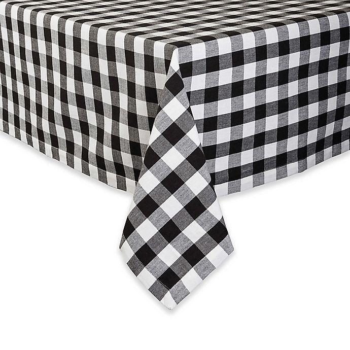 Alternate image 1 for Design Imports Checkers 52-Inch Square Tablecloth in Black/White