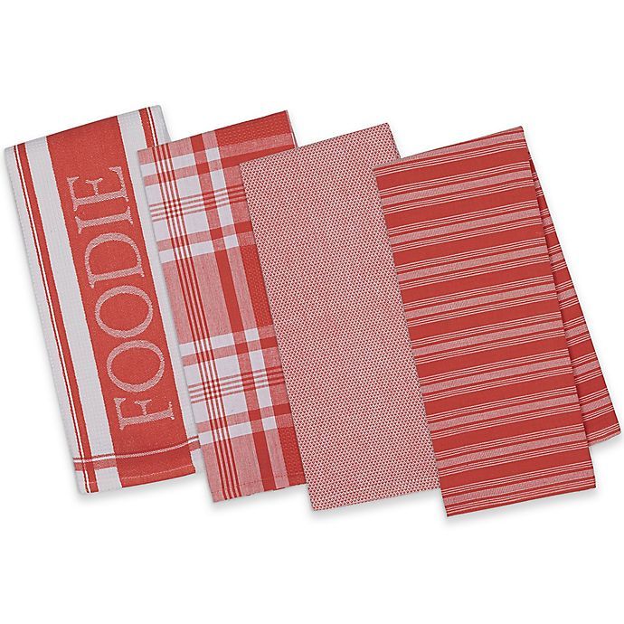 Red Kitchen Towels: Design Imports 4-Piece Gourmet Patterned Kitchen Towel Set