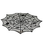 Design Imports Spider Web Lace 40-Inch Table Topper in Black