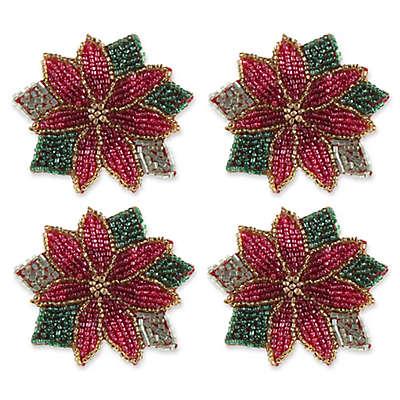 Beaded Poinsettia Napkin Rings (Set of 4)
