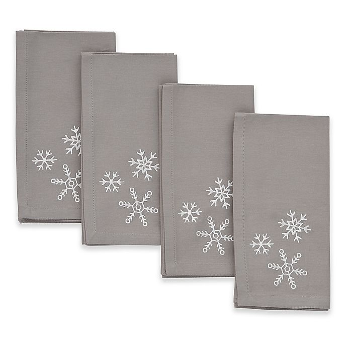Alternate image 1 for ED Ellen DeGeneres Embroidered Snowflake Napkins (Set of 4)