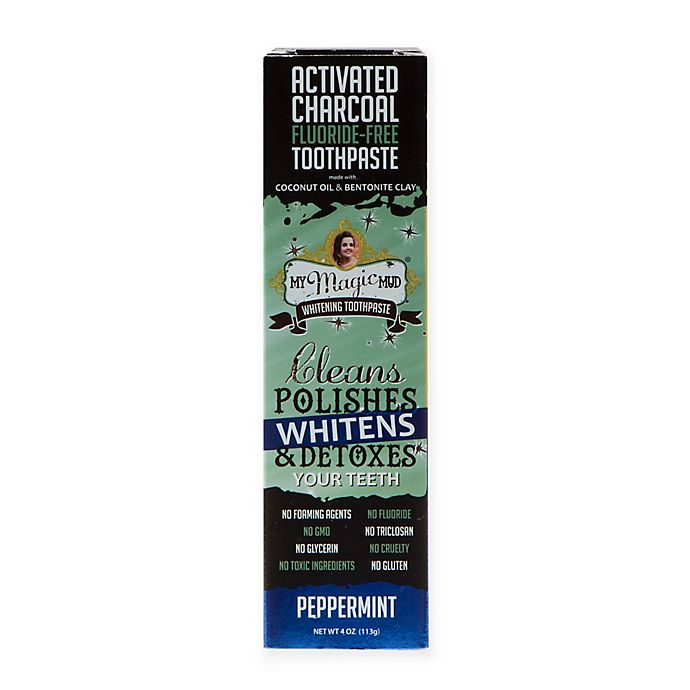 Alternate image 1 for My Magic Mud® 4 oz. Activated Charcoal Fluoride-Free Whitening Toothpaste in Peppermint
