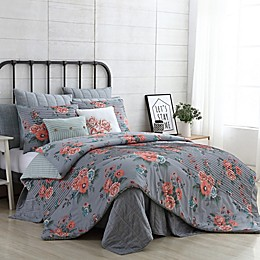 VCNY Home Farmhouse Katherine 4-Piece Reversible Twin/Twin XL Comforter Set in Grey