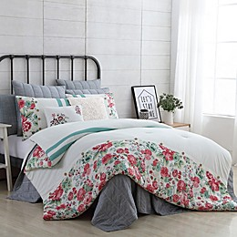 VCNY Home Farmhouse Martha 4-Piece Reversible Twin/Twin XL Comforter Set in White