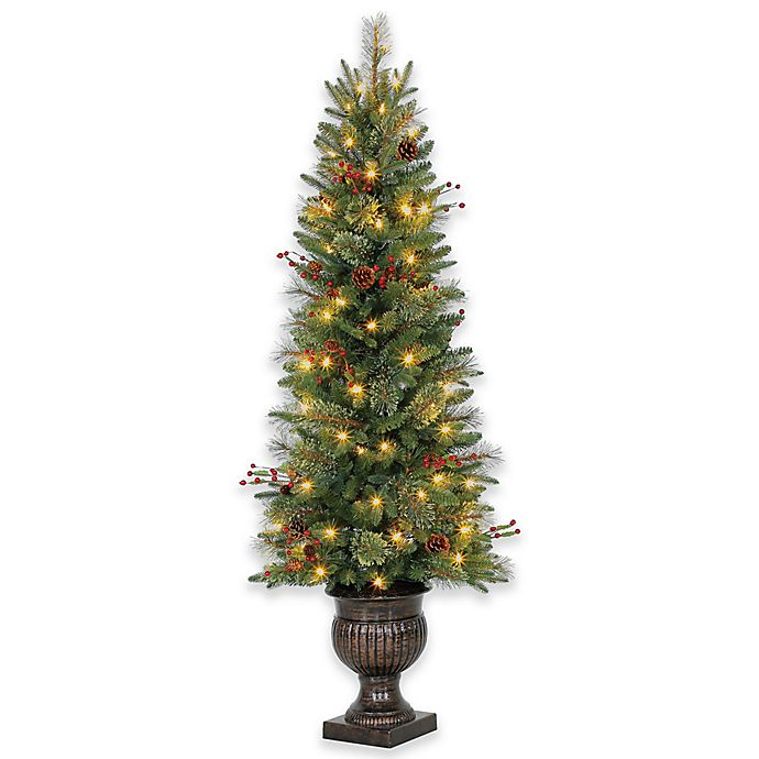 5-Foot Traditional Potted Pre-Lit Artificial Christmas Tree with LED Lights - 5-Foot Traditional Potted Pre-Lit Artificial Christmas Tree With LED