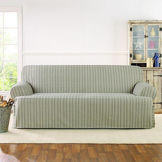 Sure Fit Grain Sack Stripe Sofa Cover Bed Bath Beyond