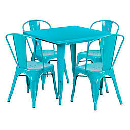 Flash Furniture 5-Piece Metal Indoor Square Table and Stackable Chairs Set