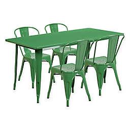 Flash Furniture 5-Piece Indoor/Outdoor Rectangular Metal Table and Stackable Chairs Set