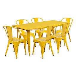 Flash Furniture 7-Piece Metal Indoor Rectangle Table and Stackable Chairs Set