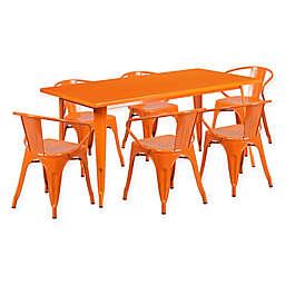 Flash Furniture 7-Piece Indoor/Outdoor Rectangular Metal Table and Stackable Chairs Set