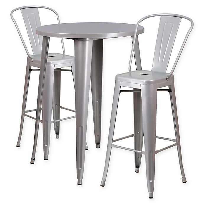 Flash Furniture 3 Piece 30 Inch Round Metal Bar Table And Bistro