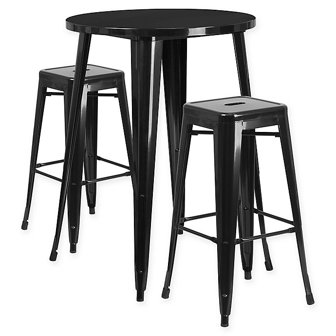 Flash Furniture 3 Piece 30 Inch Round Metal Bar Table And Stackable