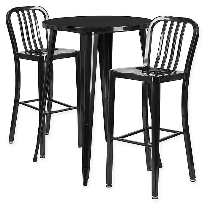 Round Table With Stools: Buy Flash Furniture 3-Piece 30-Inch Round Metal Bar Table