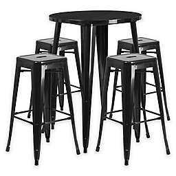 Flash Furniture 5-Piece 30-Inch Round Metal Bar Table and Stackable Stools Set