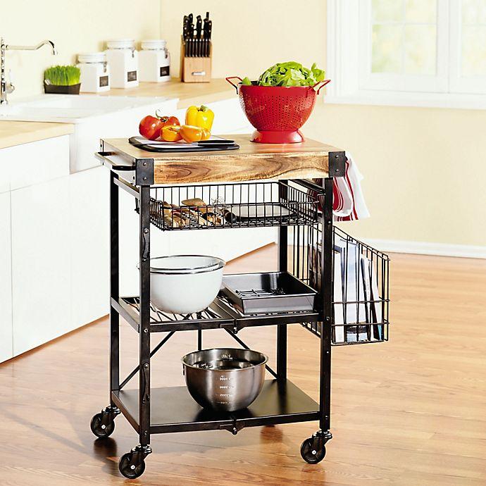 Artesa Folding Kitchen Cart With Baskets In Black