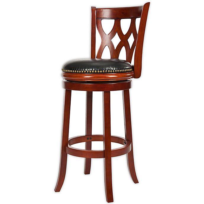 Alternate image 1 for Safavieh Lancaster Swivel Bar Stool with Cherry Finish/Black Upholstery