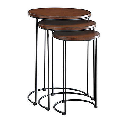 Carolina Cottage Townsley 3-Piece Nesting Table Set in Chestnut/Black