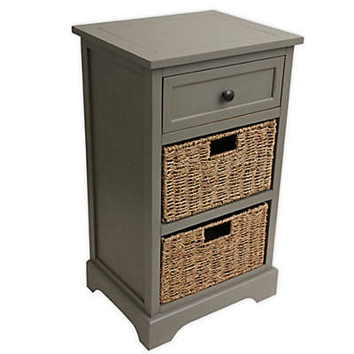 Decor Therapy Side Table Storage Chest in Antique Grey