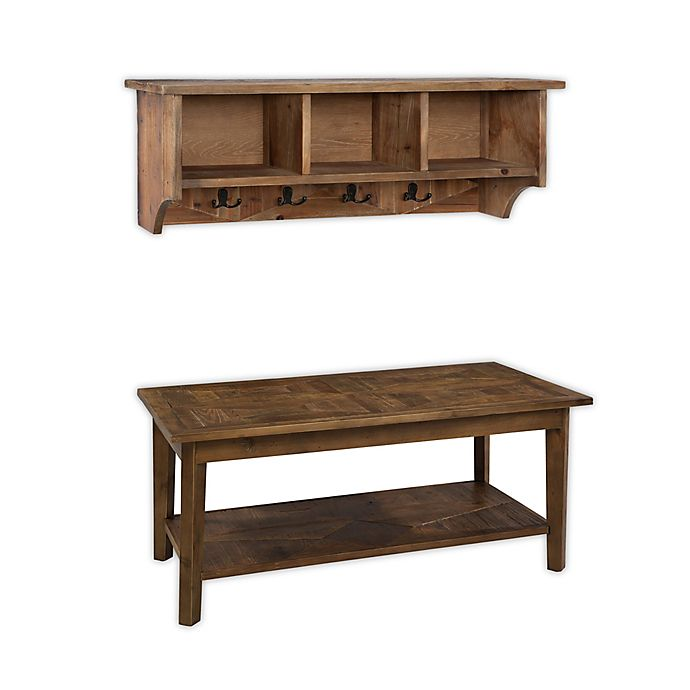 Alternate image 1 for Alaterre Revive Storage Coat Hook with Bench Set in Brown/Wood