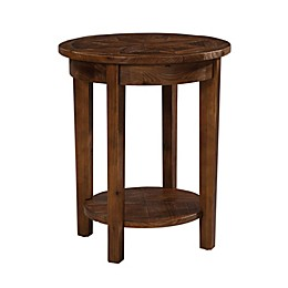 Revive Reclaimed Wood Round End Table with Natural Finish