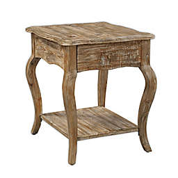Rustic Reclaimed Wood End Table with Driftwood Finish