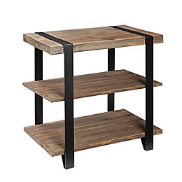 Modesto Metal and Reclaimed Wood End Table with Shelf