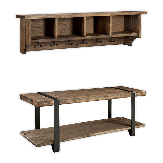 Alternate image 1 for Modesto Metal and Reclaimed Wood Wall Storage Hook and Bench Set