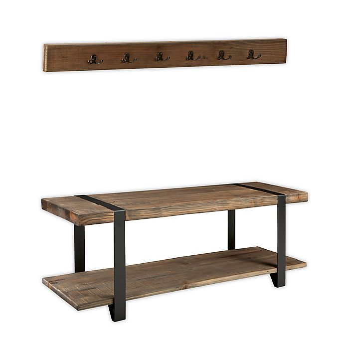 Alternate image 1 for Modesto Metal and Reclaimed Wood Coat Hook and Bench Set