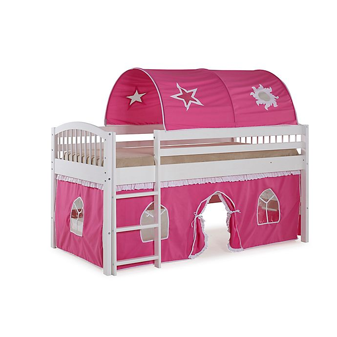 Alternate image 1 for Addison Junior Loft Bed with Tent and Playhouse in White/Pink
