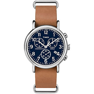 Timex® Weekender Unisex 40mm Chronograph Watch in Silvertone Brass with Tan Leather Strap