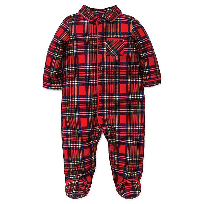 Alternate image 1 for Little Me Size 12M Footie Pajamas in Red Plaid