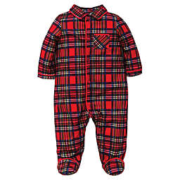 little me footie pajamas in red plaid