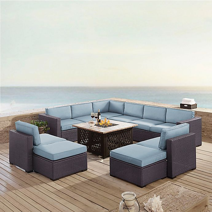 Alternate image 1 for Crosley Biscayne 8-Piece Resin Wicker Outdoor Sectional Set with Cushions