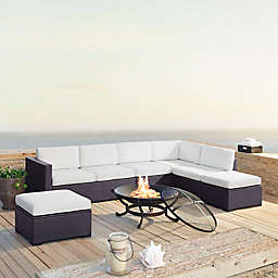Crosley Biscayne 6-Piece Resin Wicker Fire Pit Conversation Set with Cushions