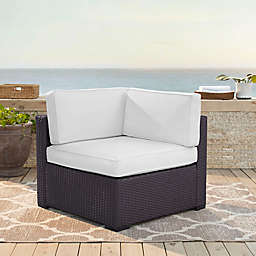Crosley Biscayne All-Weather Resin Wicker Corner Chair with Cushions