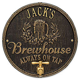 Whitehall Products Oak Barrel Beer Pub Plaque in Black/Gold