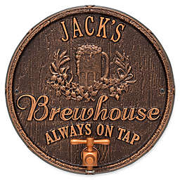 Whitehall Products Oak Barrel Beer Pub Plaque in Antique Copper