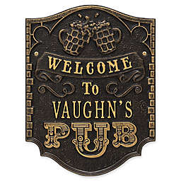 Whitehall Products Brew Pub Welcome Plaque in Black/Gold