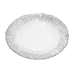 Classic Touch Trophy Milk Glass Plates with Flashy Silver Design (Set of 4)
