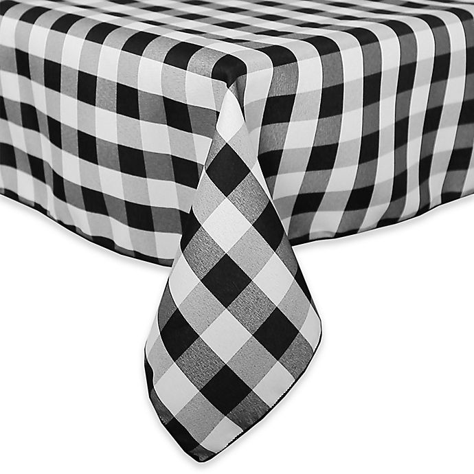Alternate image 1 for Gingham Poly Check 72-Inch Square Indoor/Outdoor Tablecloth in Black/White