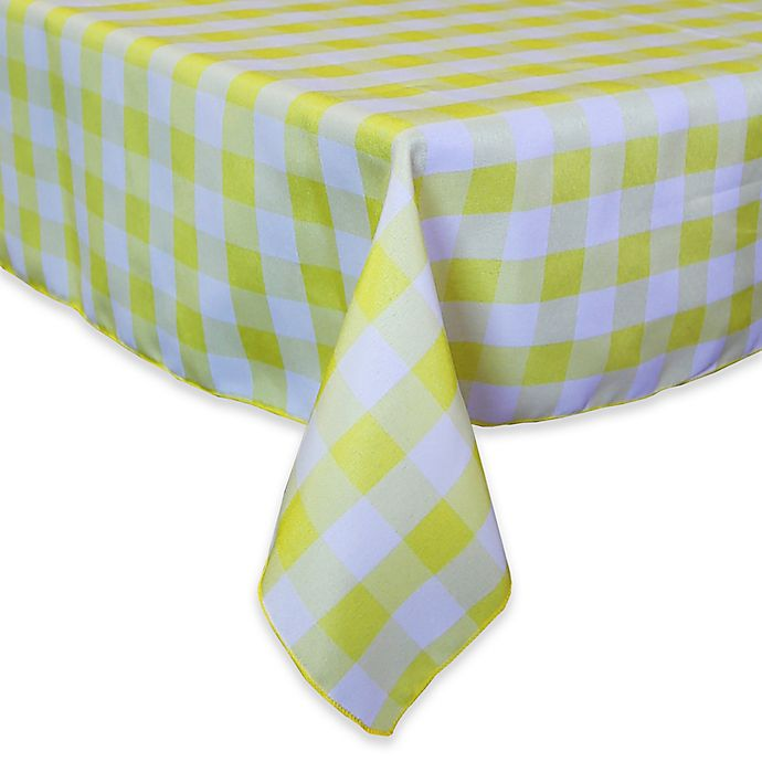 Alternate image 1 for Gingham Poly Check 72-Inch Square Indoor/Outdoor Tablecloth in Lemon/White